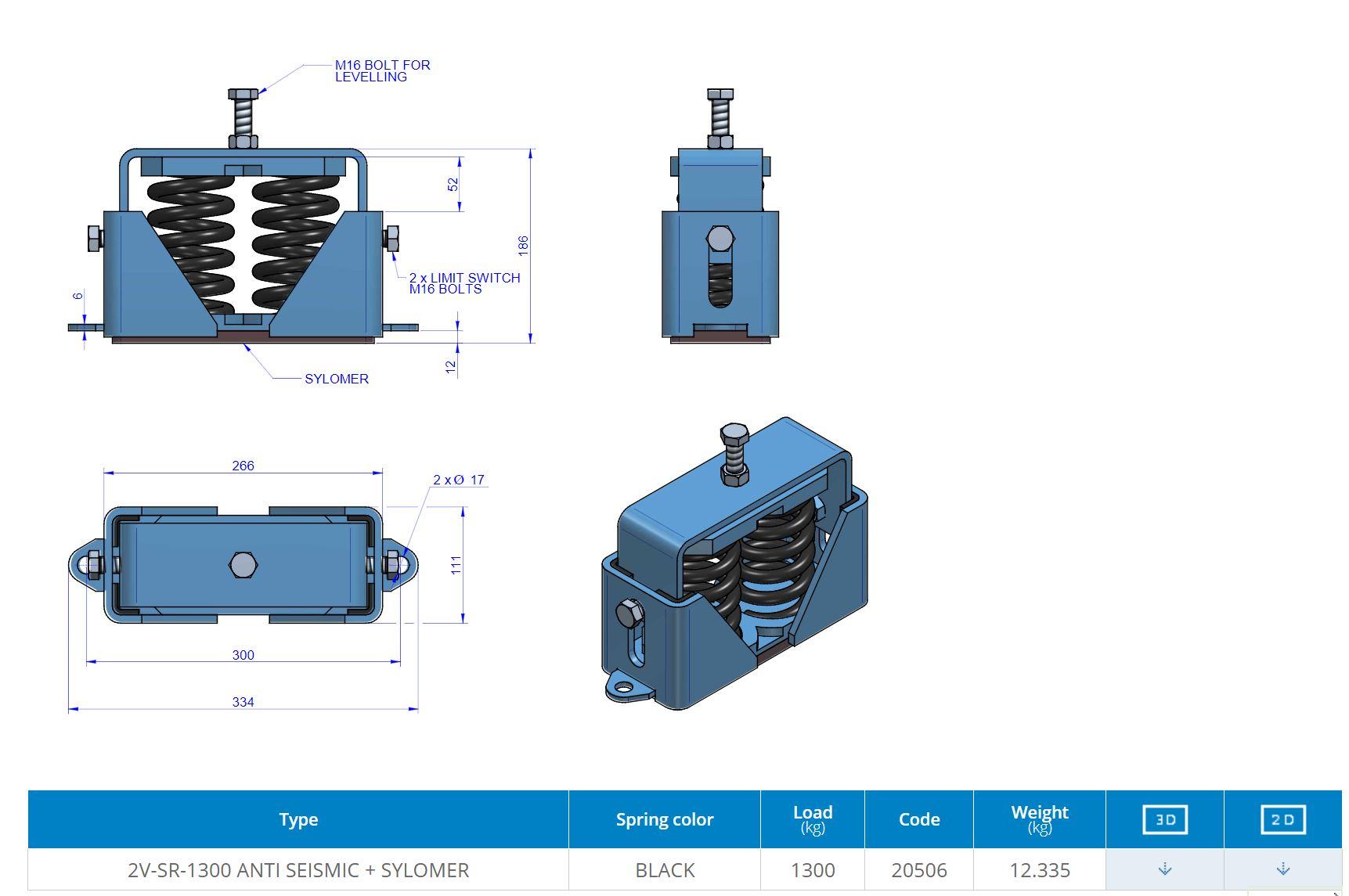 2V-SR-1300 ANTI SEISMIC + SYLOMER