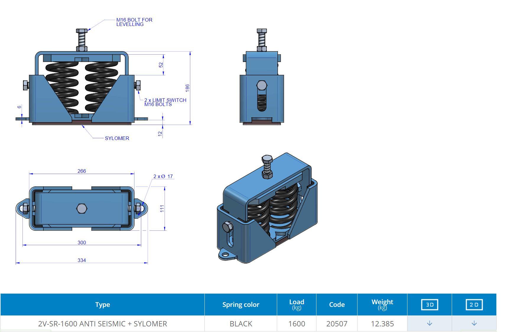 2V-SR-1600 ANTI SEISMIC + SYLOMER