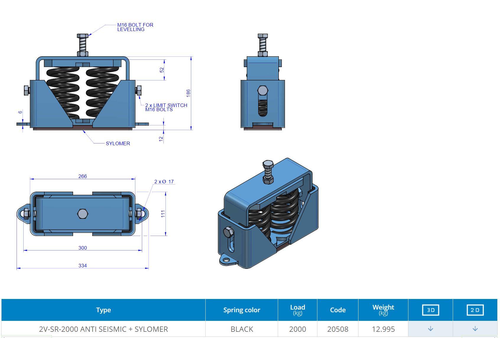 2V-SR-2000 ANTI SEISMIC + SYLOMER