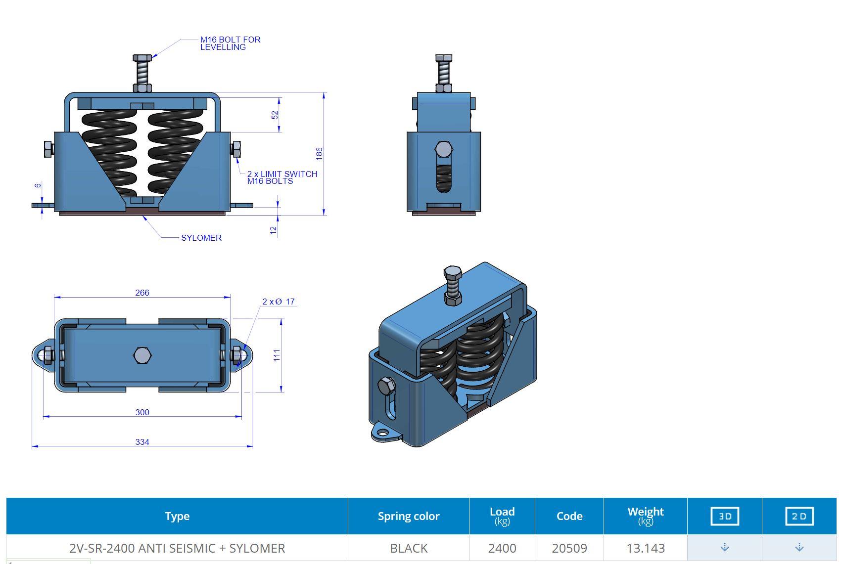 2V-SR-2400 ANTI SEISMIC + SYLOMER