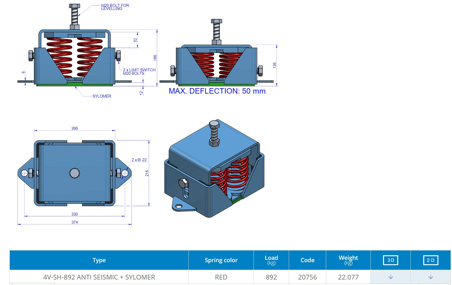 4V-SH-892 Anti Seismic + sylomer
