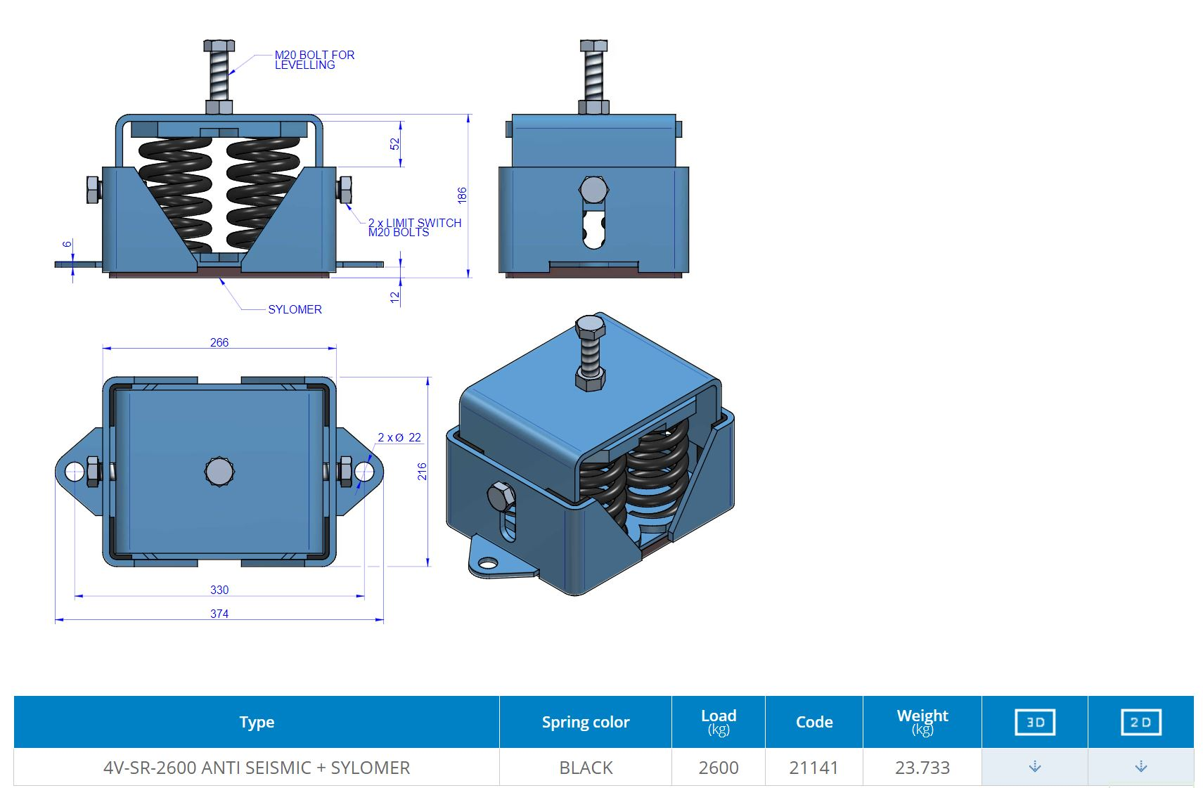 4V-SR-2600 ANTI SEISMIC + SYLOMER