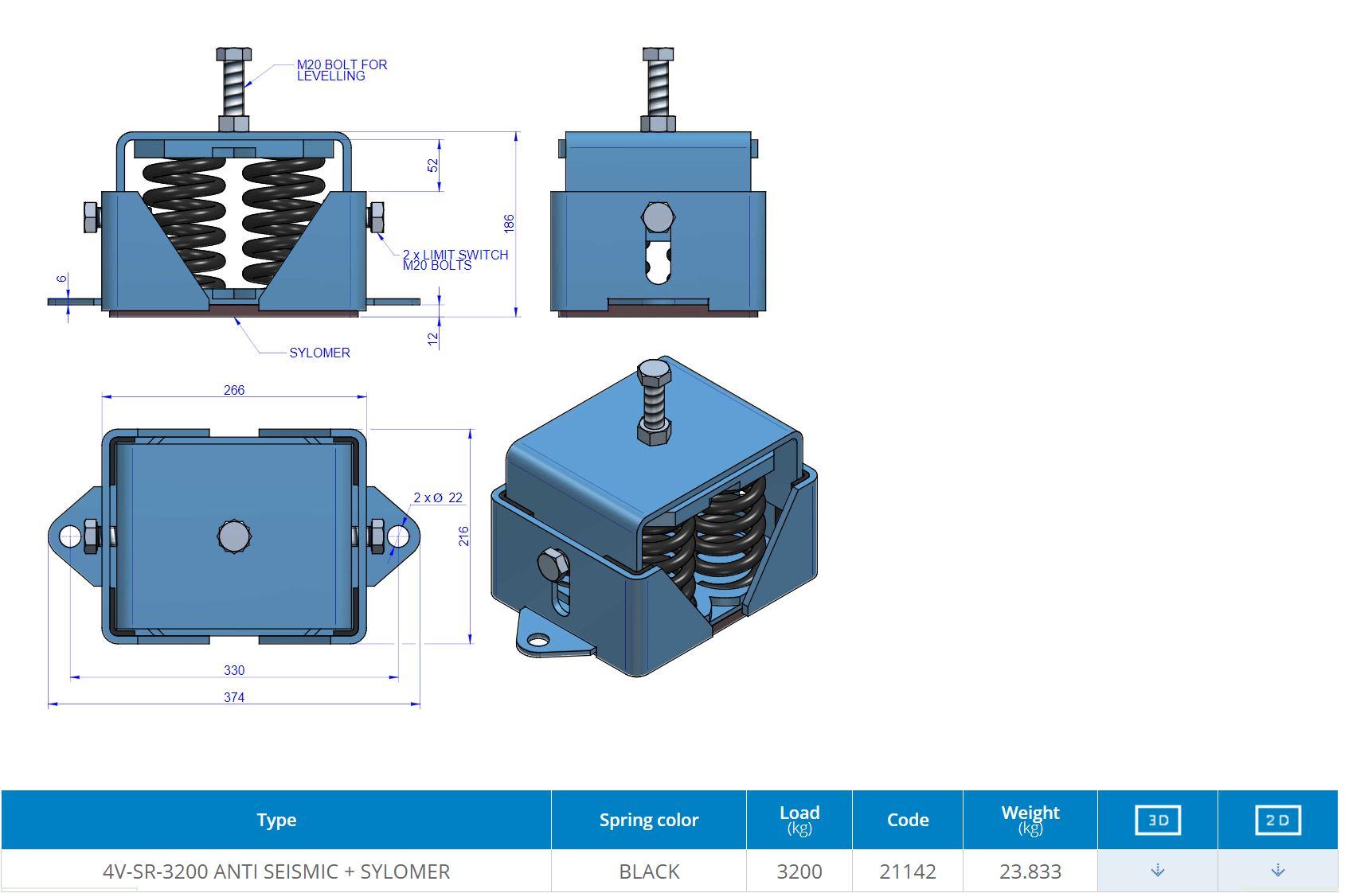 4V-SR-3200 ANTI SEISMIC + SYLOMER