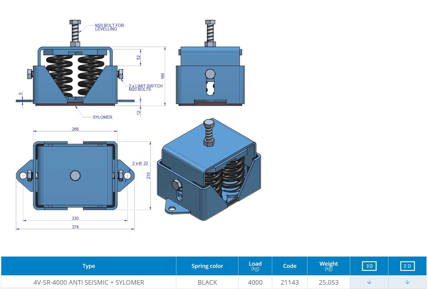 4V-SR-4000 ANTI SEISMIC + SYLOMER