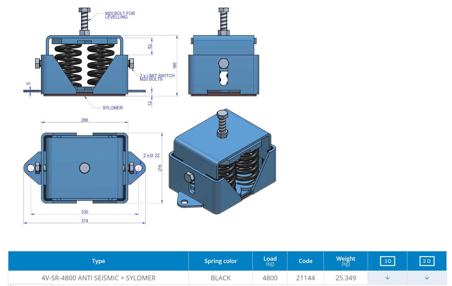 4V-SR-4800 ANTI SEISMIC + SYLOMER