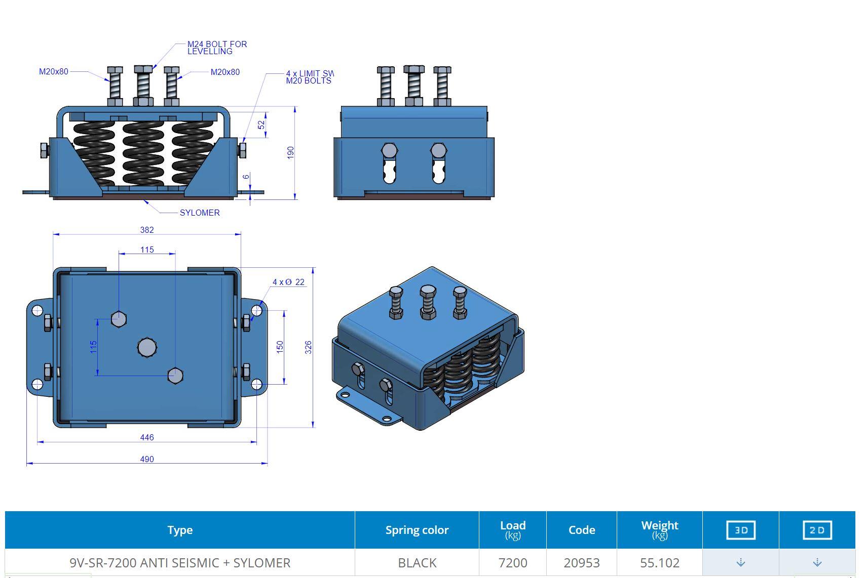 9V-SR-7200 ANTI SEISMIC + SYLOMER