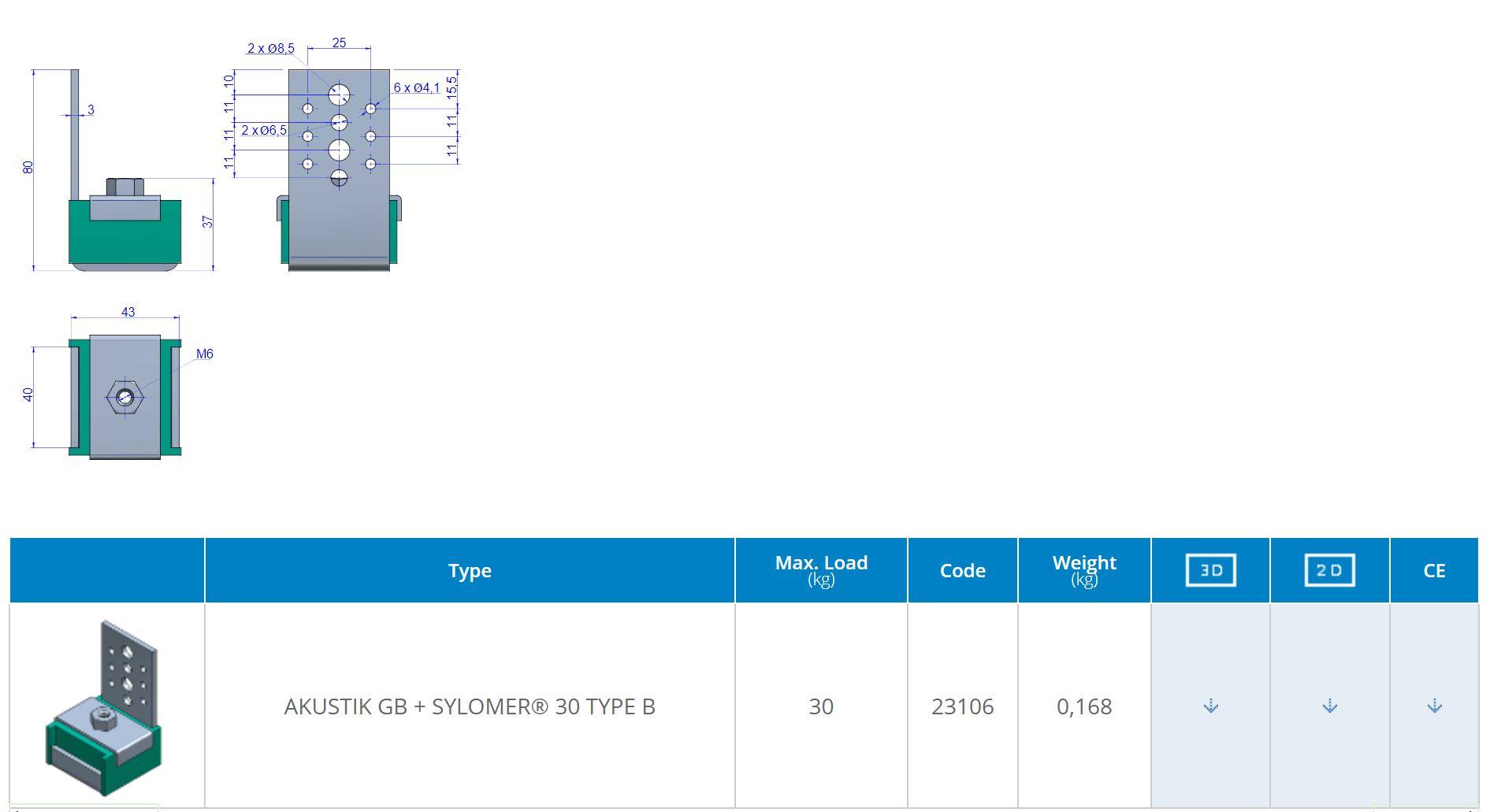 Akustik GB + Sylomer 30 Type B