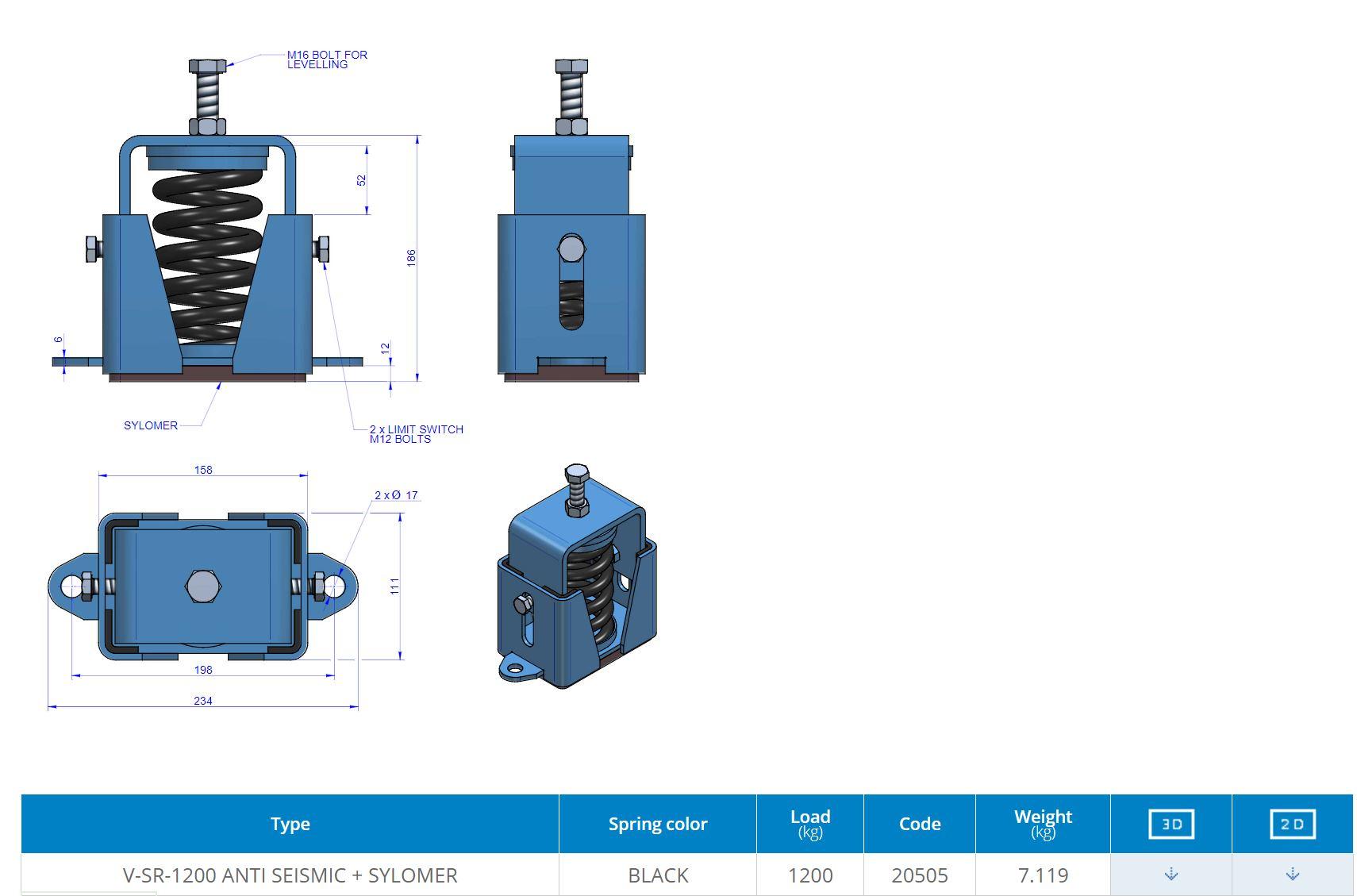 V-SR-1200 ANTI SEISMIC + SYLOMER