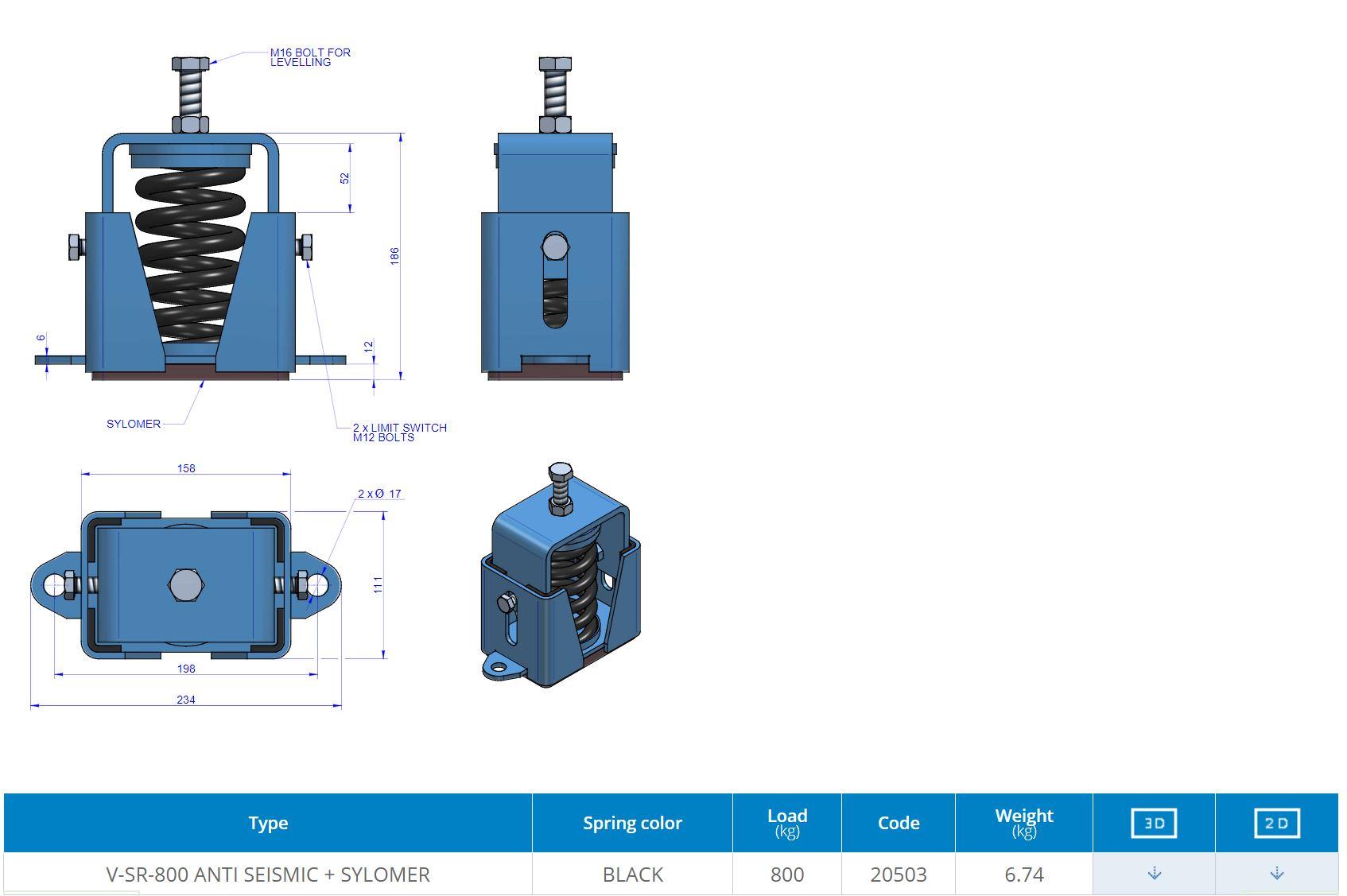 V-SR-800 ANTI SEISMIC + SYLOMER